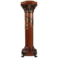 Rare Wood, Patinated Iron and Gilt Bronze Dedicated Column