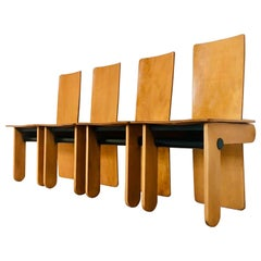 Rare Wooden Chairs, Set of 4, by Carlo Scarpa for Gavina, 1970s