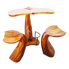 Rare Wooden Whale Tail Bar and Stools Set, France 1980s