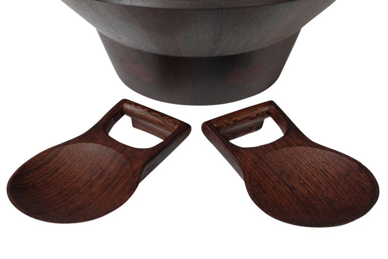 Mid-20th Century Rare Woods Bowl and Tongs by Dansk For Sale