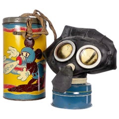 Rare WWII Mickey Mouse Gas Mask and Tin