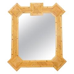 Rare Extra Large Rattan Bamboo Mirror Maurizio Mariani for Vivai del Sud Roma