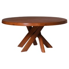 Rare XL Round Dining table 'T21E Sfax' by Pierre Chapo