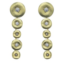 Rare Yellow Gold and Diamond Earrings by Designer Alex Sepkus
