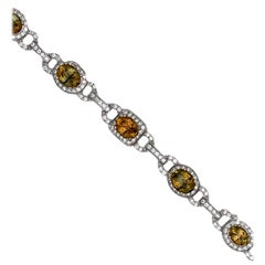 Rare, Yellow Tanzanite and Diamond Bracelet, GIA Certified, 15.40 Ct Plus 3.65