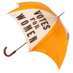 """Rare Yellow & White Suffrage Parasol with """"Votes for Women"""" Text"""