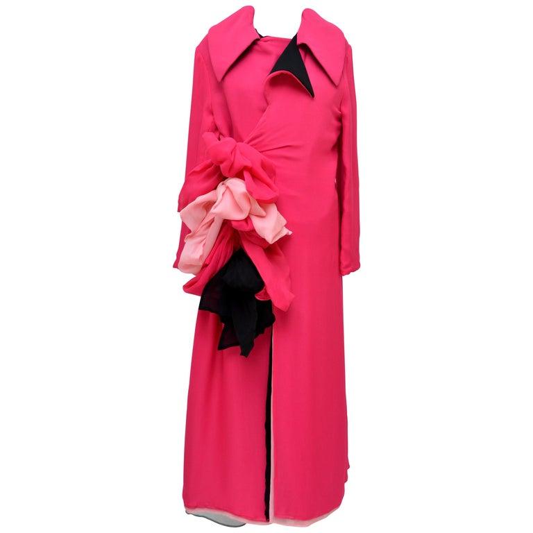 "Rare Yohji Yamamoto Runway ""05 Bow  Sash Tie Silk Layered Coat Dress   Mint  For Sale"
