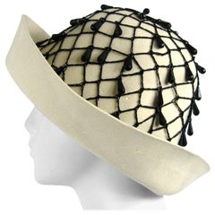 Rare YSL 1960s Yves Saint Laurent Beaded Cloche Hat