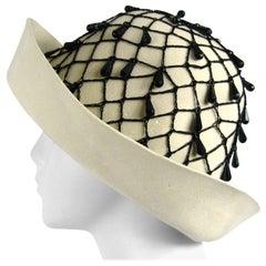 Rare YSL 1960s Yves Saint Laurent Beaded Cloche Hat