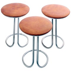 Rare Z-Stools by Gilbert Rohde with Leather Seats, 1933