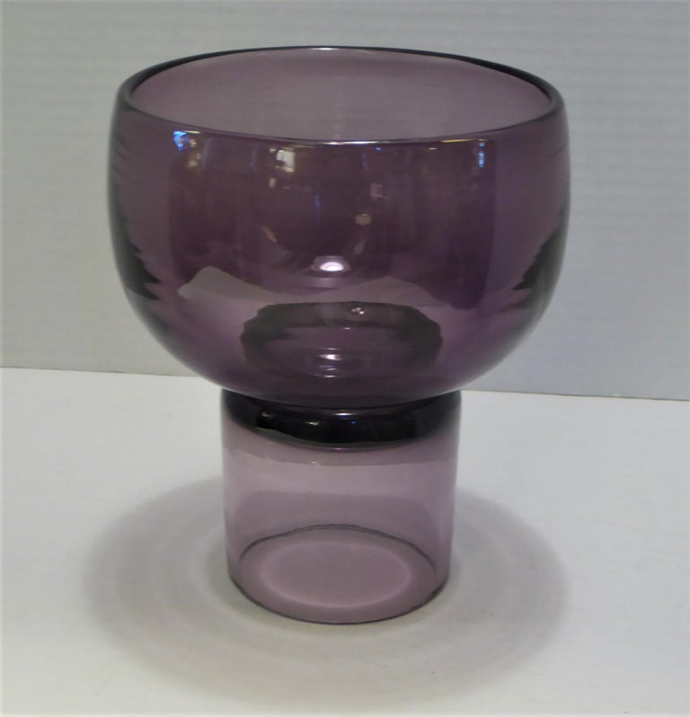 Legendary Blenko artist Wayne Husted designed this rarely seen vase / Chalice and it is in Lilac, a color for Blenko in 1959 and 1960 and with a sandblasted Blenko on the foot. This mark was only used from the Spring of 1958 to the Summer of