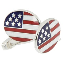 Rarely Seen-Tiffany & Co. Sterling Silver Enameled USA Flag Cufflinks