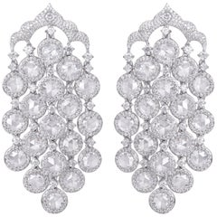 Rarever 18K White Gold 10.96cts Diamond Chandelier Earrings
