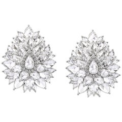 Rarever 14.28 Carat 18 Karat White Gold Rose Cut Diamond Cluster Stud Earrings