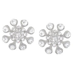Rarever 18 Karat White Gold 8.78 Carat Rose Cut Diamond Flower Stud Earrings