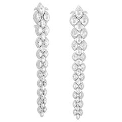 Rarever 18k Gold 17.2ct Rose Cut Diamond Modern Contemporary Statement Earrings