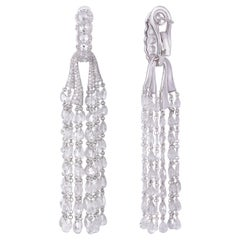 Rarever 18K White Gold 12.64ct Diamond Tassel Earrings