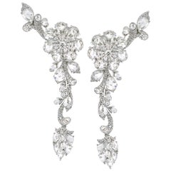 Rarever 18k White Gold 13.4ct Rose Diamond Chandelier Drop Statement Earrings