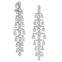 Rarever 18k White Gold 21.6ct Old Mine Cut Diamond Chandelier Statement Earrings