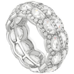 Rarever 18K White Gold Half Moon Cut Diamond 5.75cts Eternity Ring