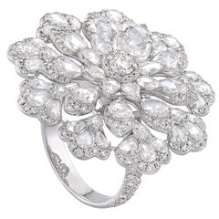 Rarever 18K White Gold Rose Cut Diamond 4.38cts Floral Cocktail Statement Ring