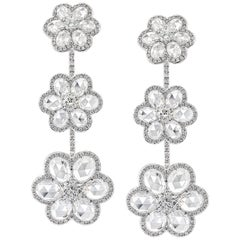 Rarever 18K White Gold Rose Cut Diamond Blossom Flower 10.11cts Earrings