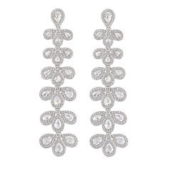 Rarever 18k White Gold Rose Cut Diamond Hanging 5.32cts Earrings