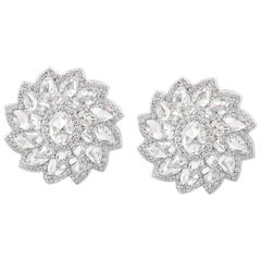 Rarever 18K White Gold Rose Cut Diamond Flower Cluster Stud 7.74cts Earrings