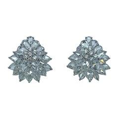 Rarever 18K White Gold Rose Cut Diamond Flower Cluster Stud 8.21cts Earrings