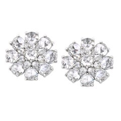 Rarever 18K White Gold Rose Cut Diamond Flower Ear Studs 5.83cts Earrings