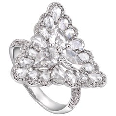 Rarever 18K White Gold Rose Cut Pear Shape Diamond Dress 2.31cts Ring