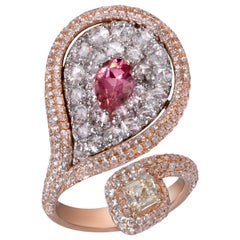 Rarever 18K Rose Gold Diamond Kite 0.81cts Tourmaline Cocktail Ring