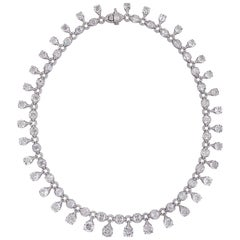 Rarever 41 Carat 18K White Gold Old Mine Cut Contemporary Class Diamond Necklace