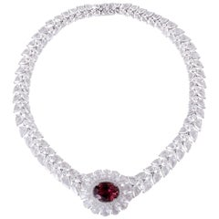 Rarever 67.09 carat 18K White Gold 9.08ct Rubelite and Rose Cut Diamond Necklace