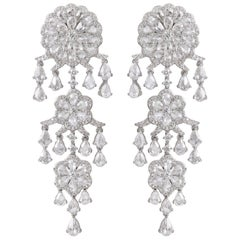 Rarever 18K White Gold 9.77ct Rose Cut Diamond Chandelier Earrings