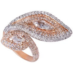 Rarever 18K Rose Gold 3.66cts Pave Set Pear Shape Diamond Cocktail Ring