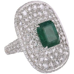 Rarever 18K White Gold Rose Cut Diamond 6.13ct Emerald Dress Ring