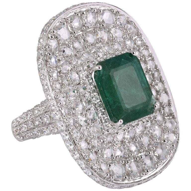 Rarever Rose Cut Diamond 6 13 Carat Zambian Emerald Ring
