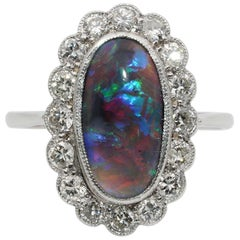 Rarity Corner Sensational Antique Edwardian Period Diamond and Black Opal Ring