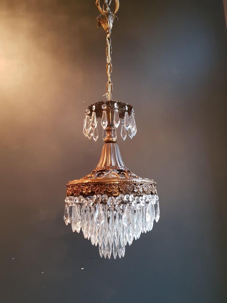 Seltener Feiner Kronleuchter Kristall Deckenlampe, Antiker Jungendstil 2