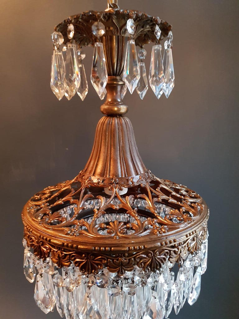 Seltener Feiner Kronleuchter Kristall Deckenlampe, Antiker Jungendstil 3