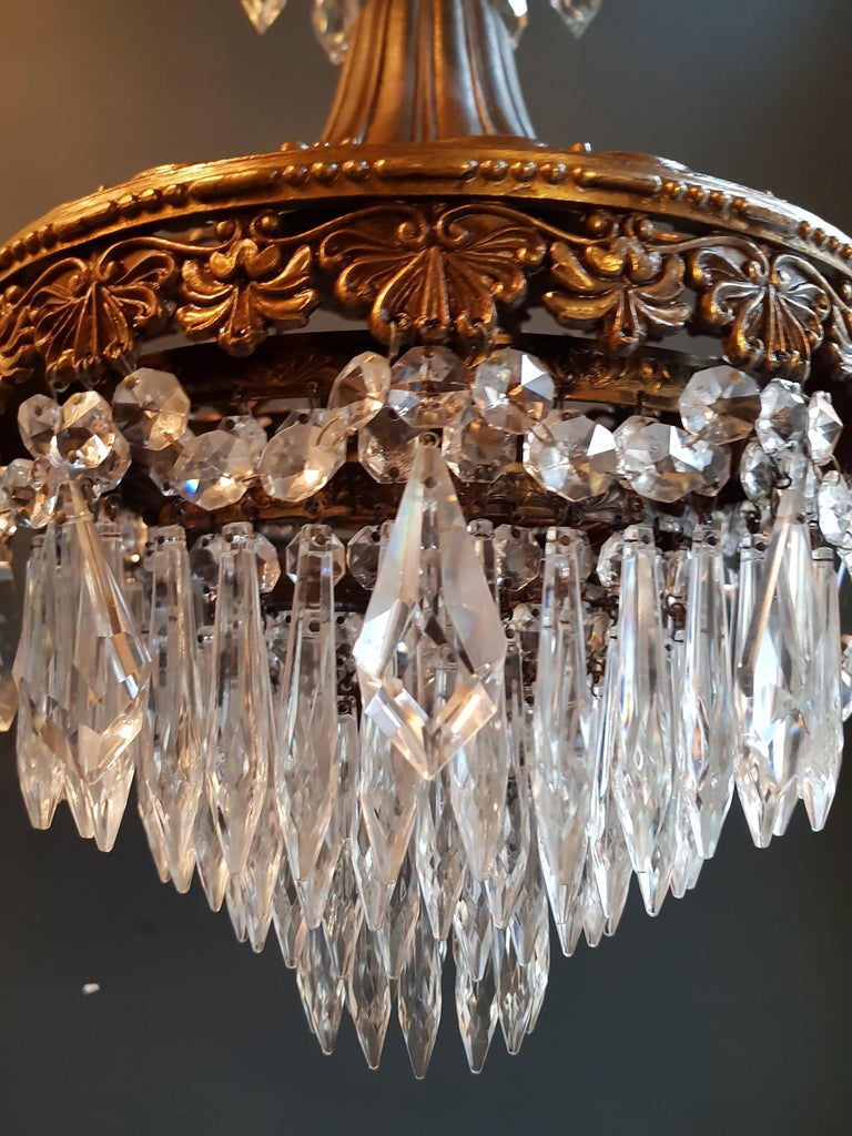 Seltener Feiner Kronleuchter Kristall Deckenlampe, Antiker Jungendstil 4