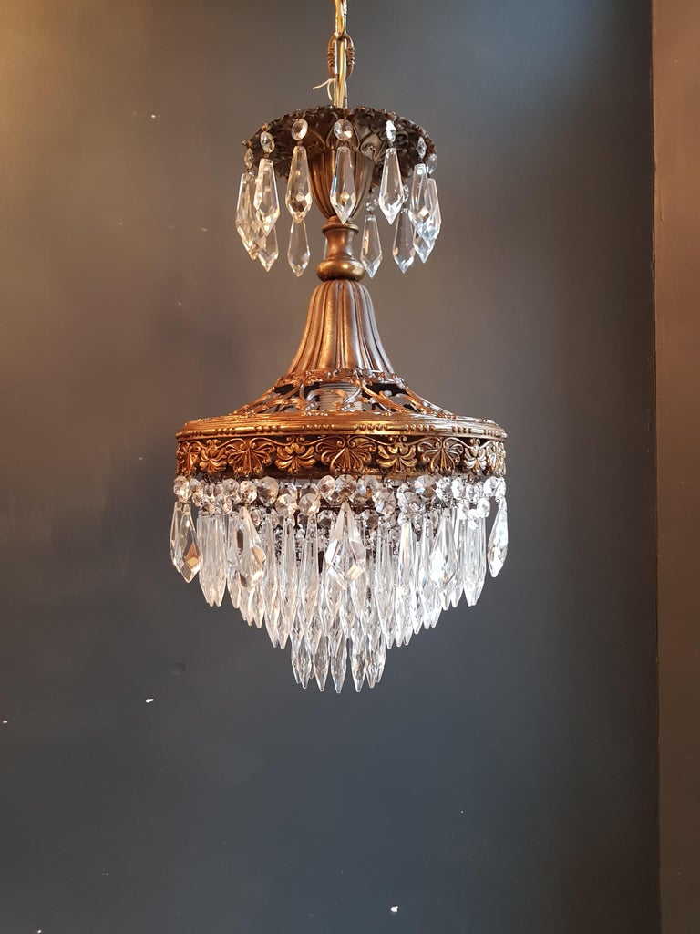 Seltener Feiner Kronleuchter Kristall Deckenlampe, Antiker Jungendstil 5