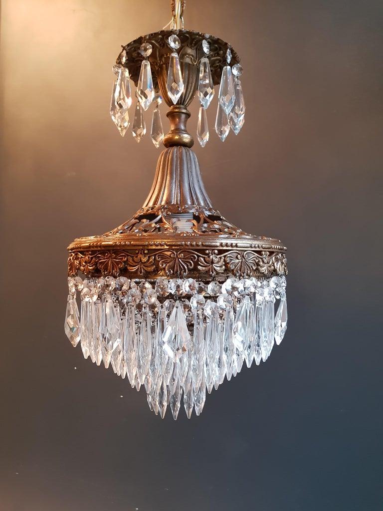 Seltener Feiner Kronleuchter Kristall Deckenlampe, Antiker Jungendstil 6