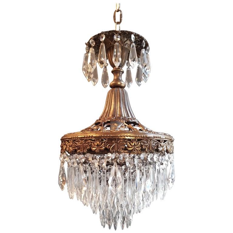 Seltener Feiner Kronleuchter Kristall Deckenlampe, Antiker Jungendstil 1