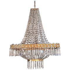 Rarity Rectangle Crystal Chandelier Brass Lustre Ceiling Square Lamp Antique