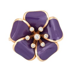Rasato Purple Enamel Diamond Flower Ring Estate 18k Rose Gold Cocktail