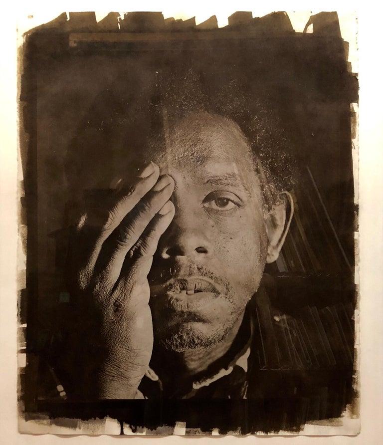 Rashid Johnson Black and White Photograph - Large Photograph George (Seeing in the Dark Series) Van Dyke Brown Photo Print