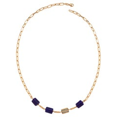 Rasia Lapis Necklace in 14K Rose Gold with White Diamond