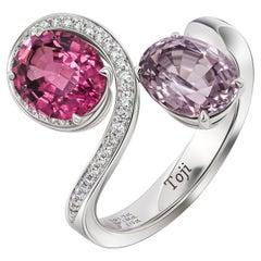 Raspberry & Lavender Spinels Ring, 18 K White Gold Spinels and Diamonds Ring
